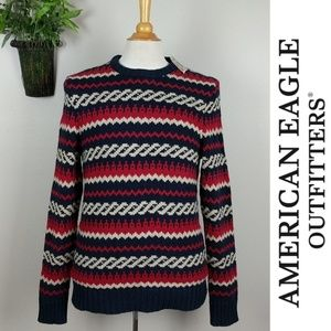 American Eagle Fair Isle Stripe Thick Knit Sweater